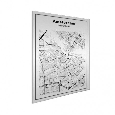 Stadtkarte Amsterdam Schwarz-Weiß Aluminium