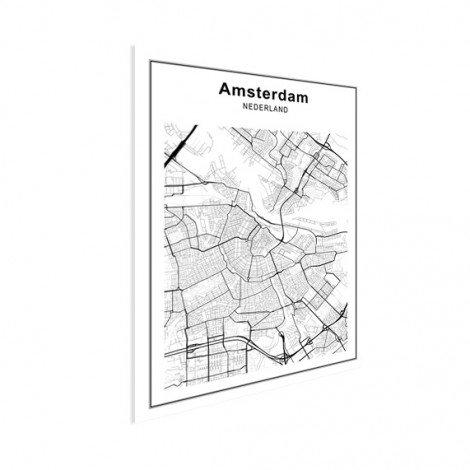 Stadtkarte Amsterdam Schwarz-Weiß Poster