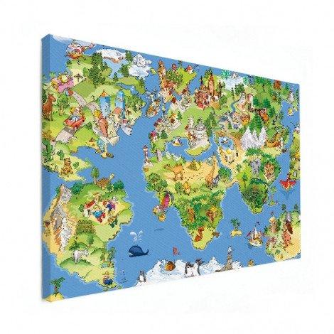Weltkarte Tiere & Gebäude Leinwand