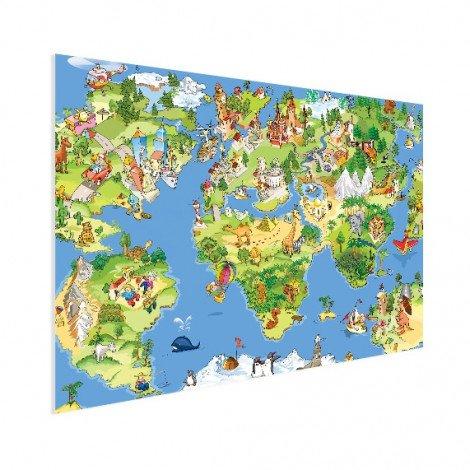 Weltkarte Tiere & Gebäude Poster