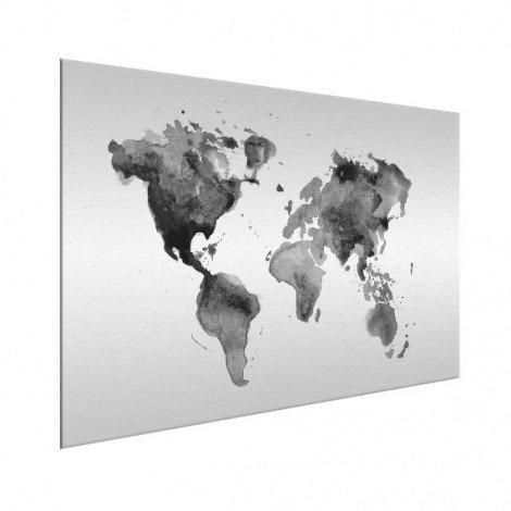 Aquarell Weltkarte Schwarz-Weiß Aluminium