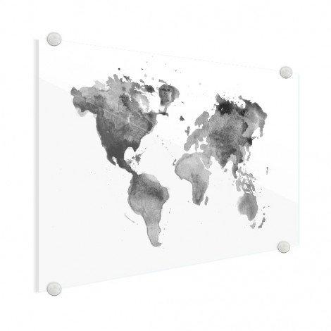 Aquarell Weltkarte Schwarz-Weiß Acrylglas