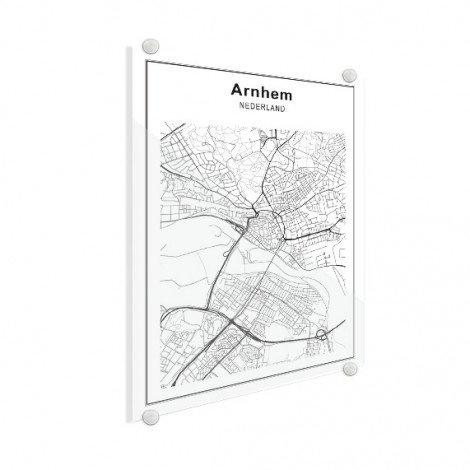 Stadtkarte Arnheim Schwarz-Weiß Glas