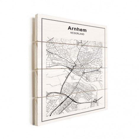 Stadtkarte Arnheim Schwarz-Weiß Holz