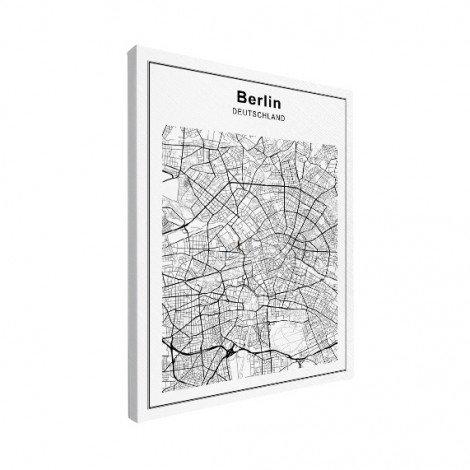 Stadtkarte Berlin Schwarz-Weiß Leinwand