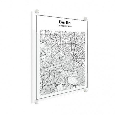 Stadtkarte Berlin Schwarz-Weiß Glas