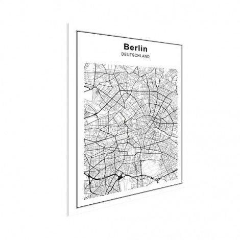 Stadtkarte Berlin Schwarz-Weiß Poster
