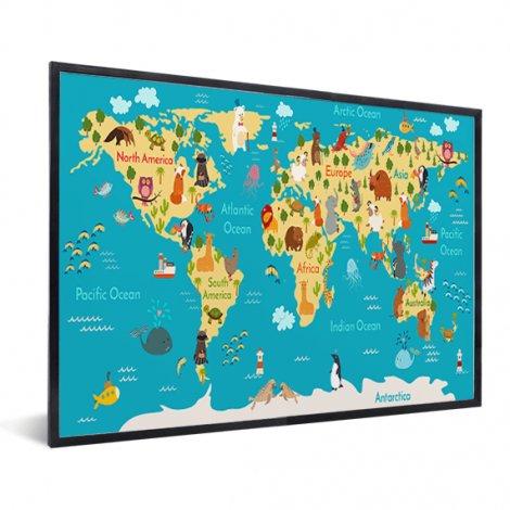 Weltkarte Kontinente & Meere im Rahmen