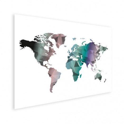 Geometrische Weltkarte Farbe Poster