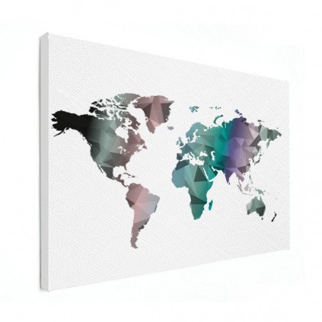 Geometrische Weltkarte Farbe Leinwand