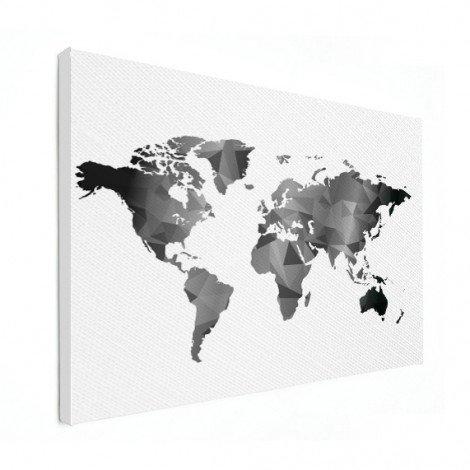 Geometrische Weltkarte Schwarz-Weiß Leinwand