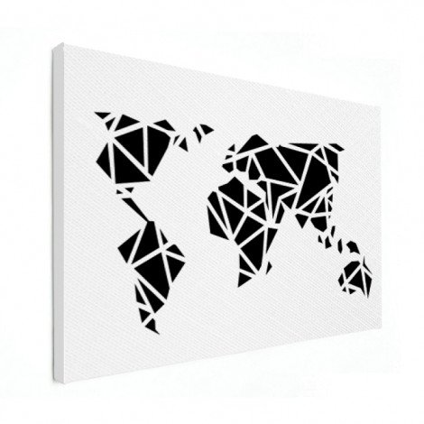 Geometrische Weltkarte Schwarz Leinwand