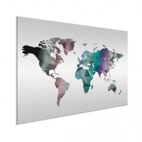 Geometrische Weltkarte Farbe Aluminium
