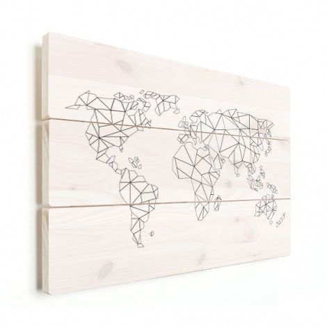 Geometrische Weltkarte Linien Holz