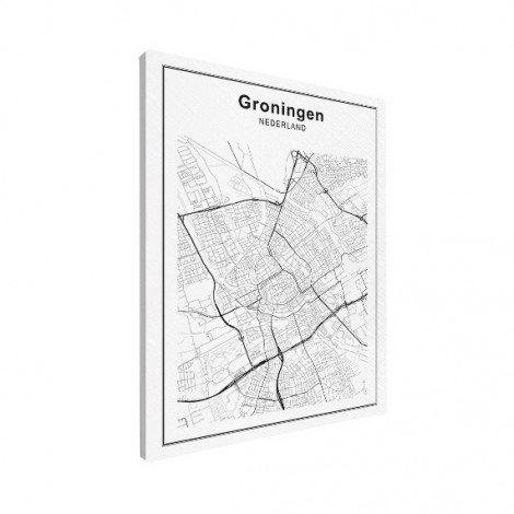 Stadtkarte Groningen Schwarz-Weiß Leinwand