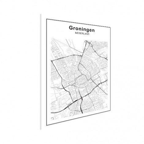 Stadtkarte Groningen Schwarz-Weiß Poster