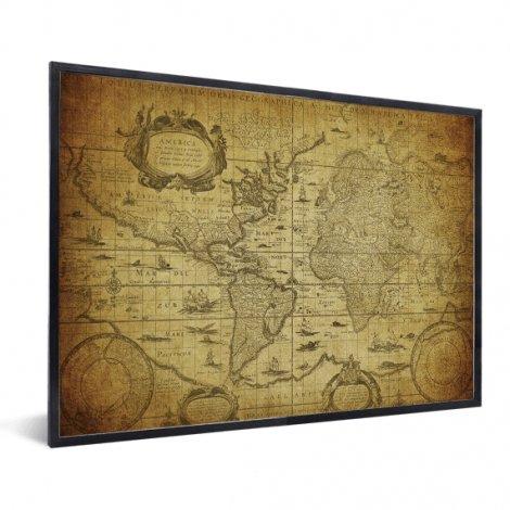 Weltkarte Illustration im Rahmen
