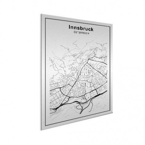 Stadtkarte Innsbruck Schwarz-Weiß Aluminium