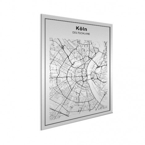 Stadtkarte Köln Schwarz-Weiß Aluminium