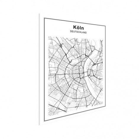 Stadtkarte Köln Schwarz-Weiß Poster