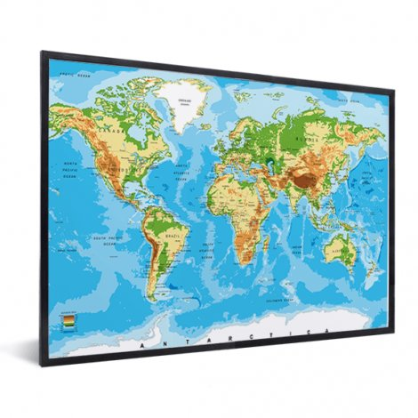 Weltkarte Klassisch im Rahmen