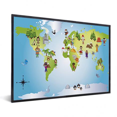 Weltkarte Kleine Freunde im Rahmen