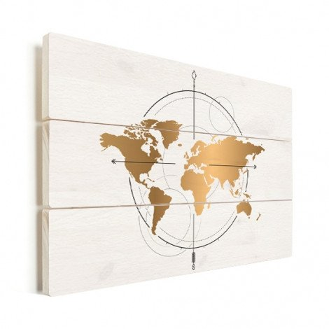 Kompass - groß gold Holz