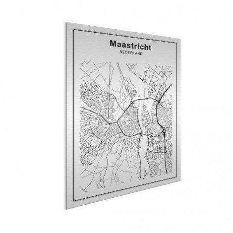 Stadtkarte Maastricht Schwarz-Weiß Aluminium
