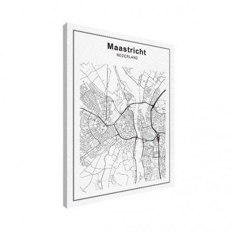 Stadtkarte Maastricht Schwarz-Weiß Leinwand