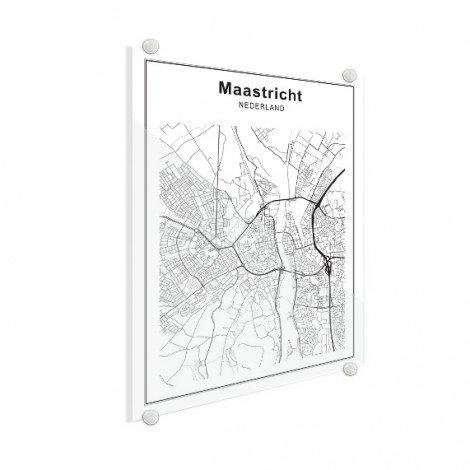 Stadtkarte Maastricht Schwarz-Weiß Glas