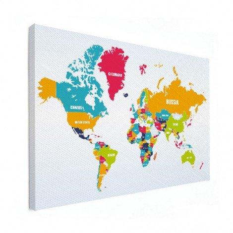 Weltkarte Ländernamen Leinwand