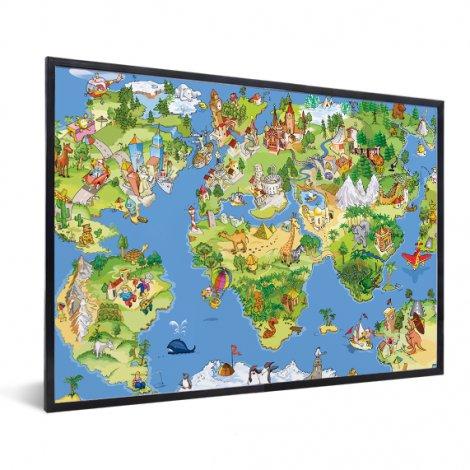 Weltkarte Tiere & Gebäude im Rahmen