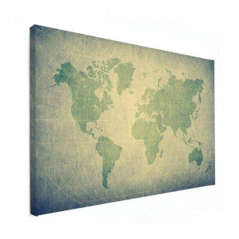 Weltkarte Pergament Grün Blass Leinwand