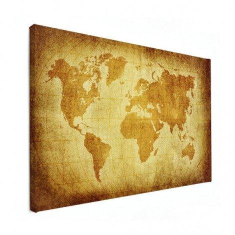 Weltkarte Pergament Leinwand