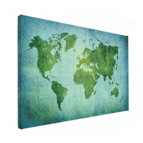 Weltkarte Pergament Kräftig Grün Leinwand