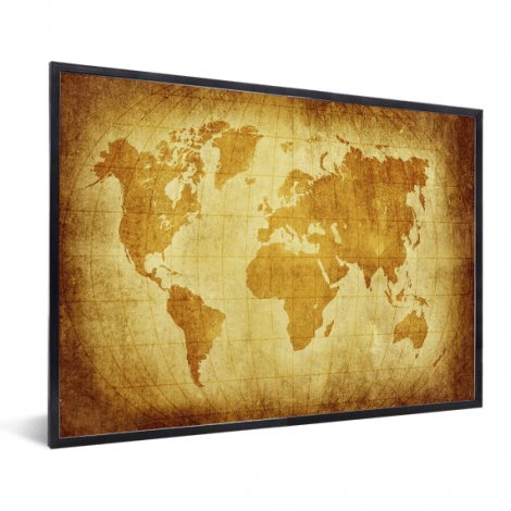 Weltkarte Pergament im Rahmen
