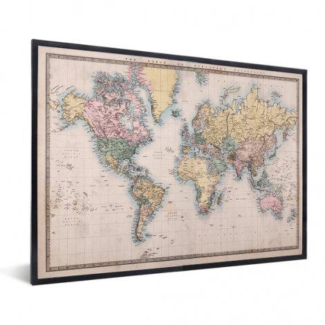 Weltkarte Realistisch im Rahmen