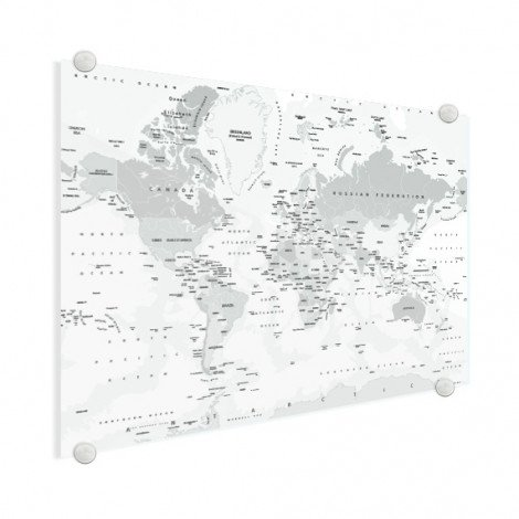Realistische Weltkarte Graustufen Acrylglas