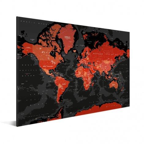 Weltkarte Rot - Schwarz Aluminium