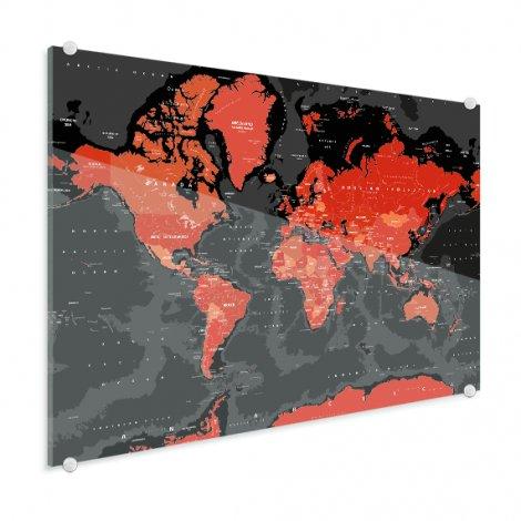Weltkarte Rot - Schwarz Acrylglas