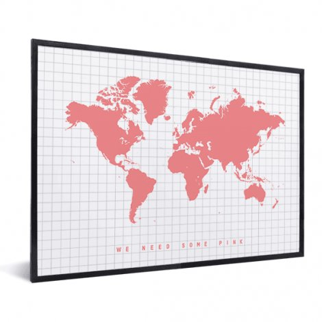 Weltkarte Rosa im Rahmen