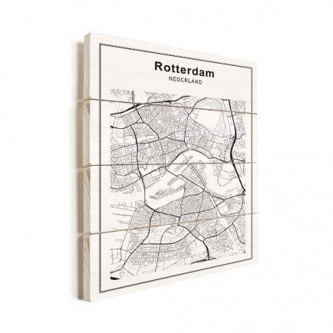 Stadtkarte Rotterdam Schwarz-Weiß Holz