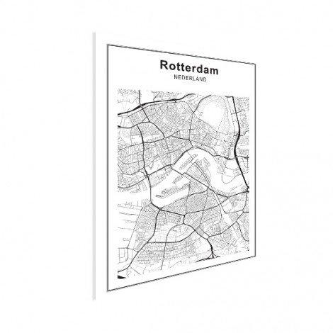 Stadtkarte Rotterdam Schwarz-Weiß Poster