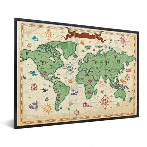 Weltkarte Schatzkarte im Rahmen