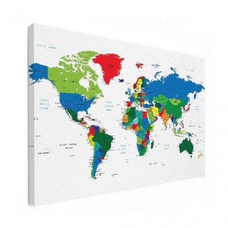 Weltkarte alle Länder Leinwand