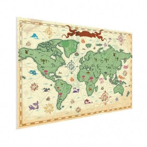 Weltkarte Schatzkarte Poster
