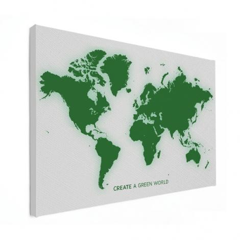 Weltkarte Grün Leinwand