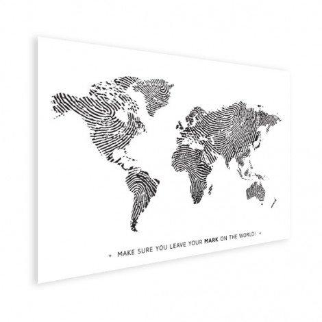 Fingerabdruck Weltkarte Schwarz-Weiß mit Text Poster
