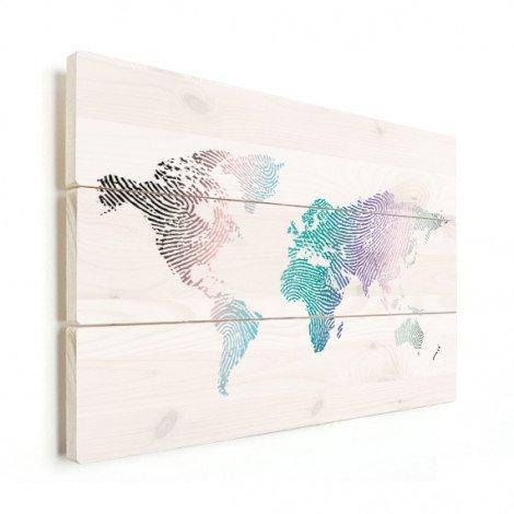 Fingerabdruck Weltkarte Farbig Holz