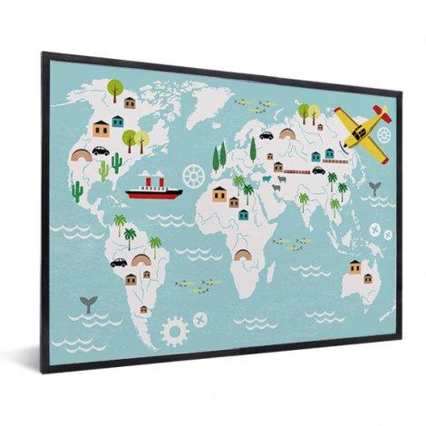 Weltkarte Technisch im Rahmen